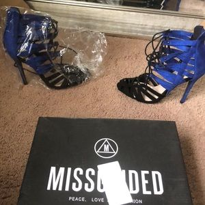 Black and Blue lace heels